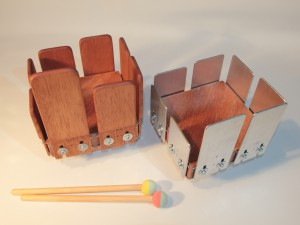 The wood and metal 8-tone tongue drums